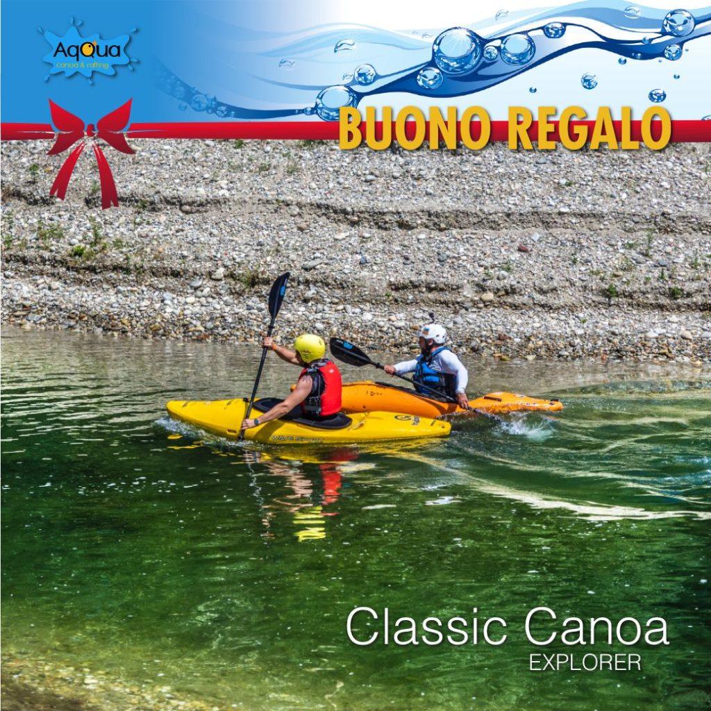 buono regalo classic canoa con 2 canoisti in fiume