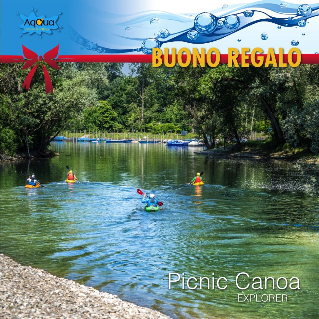 buono regalo natale per il picnic canoa conimmagine di darsena di fiume e canoisti